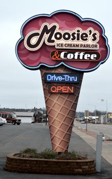 Moosies Ice Cream OPEN Sign